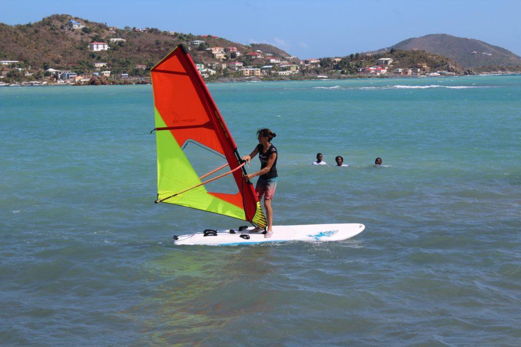 Olympic windsurfing champion Charline Picon teaches YEP students the sport.