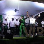 The Virgin Islands Party district candidates took to the stage during a youth rally on Friday night in Road Town, each dancing and waving.