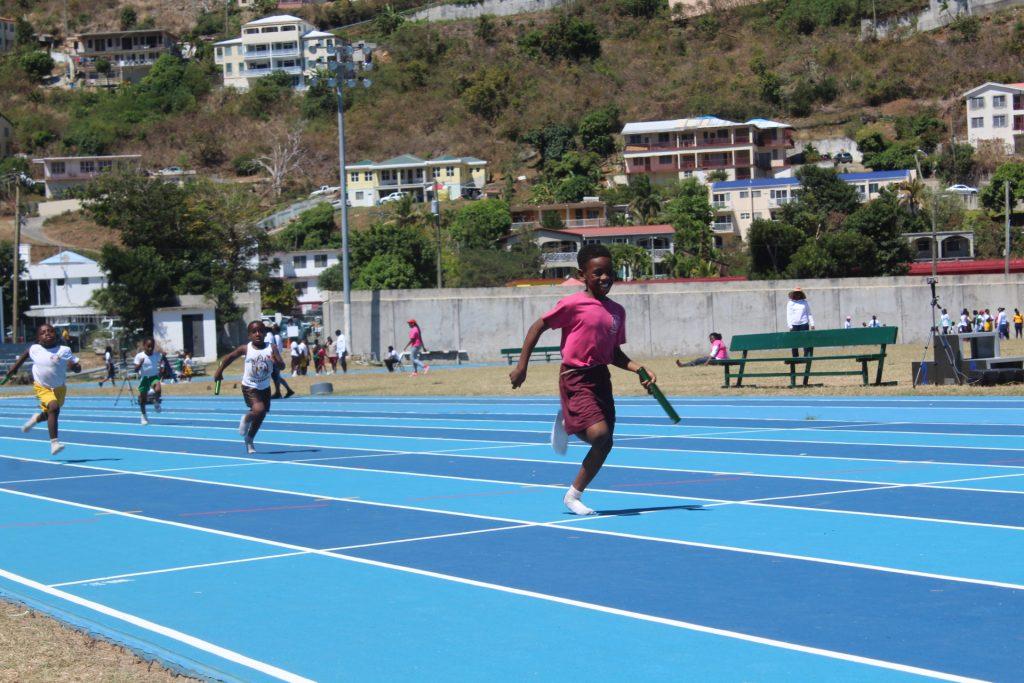 kids race on a track
