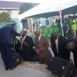 The Virgin Islands Party cabinet kneel while receiving prayers and blessings during the Praise and Thanksgiving Service on March 6 at the Cyril B. Romney Pier Park