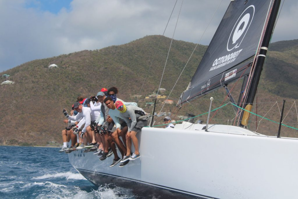 Crewmembers from Carib LPG compete in the racing class of the Round Tortola Race on Tuesday.